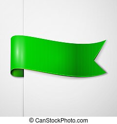 Realistic Shiny Green Ribbon Isolated On White Background With Space For Text Vector Illustration