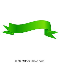 Realistic Shiny Green Ribbon Isolated On White Background