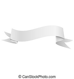 Realistic shiny grey ribbon isolated on white background. With space for text. Vector illustration