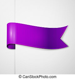 Realistic shiny purple ribbon isolated on white background. With space for text. Vector illustration