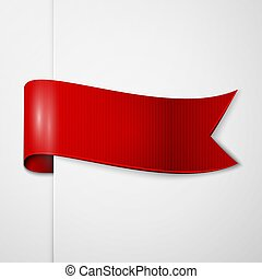 Realistic shiny red ribbon isolated on white background. With space for text. Vector illustration
