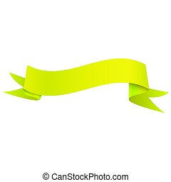 Realistic shiny yellow ribbon isolated on white background. With space for text. Vector illustration