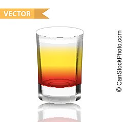 Realistic shots cocktails. 3d Shot with drinks for bars,...