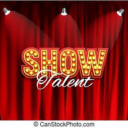 Realistic Show announcement board with bulb frame on curtains background. Vector Illustration