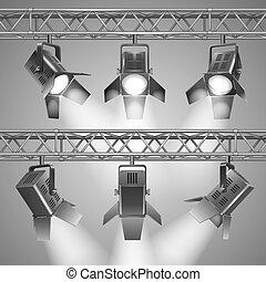 Realistic show projectors vector illustration