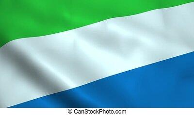 Realistic Sierra Leone flag waving in the wind. Seamless...