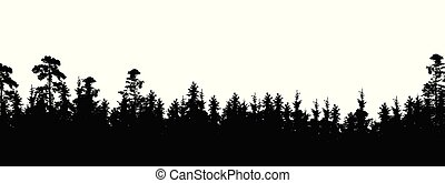Realistic silhouette of tree top in coniferous forest, with space for text - Isolated on white background