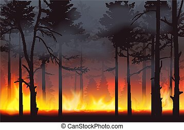 Realistic silhouette wildfire forest fire disaster landscape...