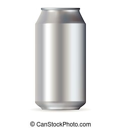 Realistic silver aluminum can