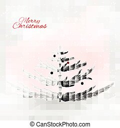 Realistic silver christmas tree on the sensual background