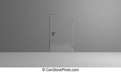 Realistic silver Door opening