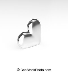 Silver Heart on white background. 3D Rendering