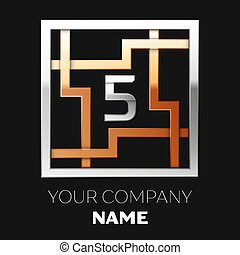 Realistic Silver Number Five logo symbol in the silver-golden colorful square maze shape on black background. The logo symbolizes labyrinth, choice of right path. Vector template for your design