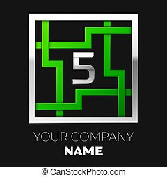 Realistic Silver Number Five logo symbol in the silver-green colorful square maze shape on black background. The logo symbolizes labyrinth, choice of right path. Vector template for your design