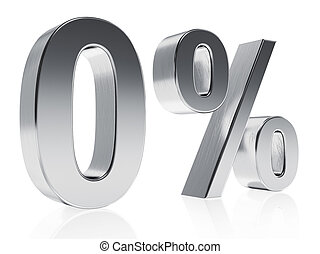 Realistic silver rendering of a symbol for 0 % discount or...
