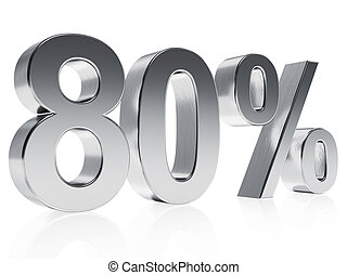 Realistic silver rendering of a symbol for 80 % discount or gain