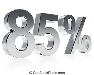 Realistic silver rendering of a symbol for 85 % discount or gain