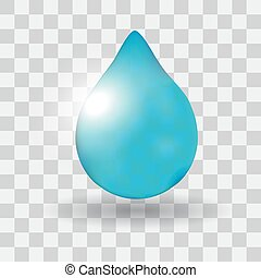 Realistic single water drop isolated on white vector illustration,