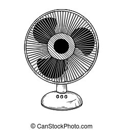 Realistic sketch. Electric fan isolated on white background. Vector