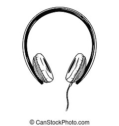 Realistic sketch. Headphones isolated on white background. Vector