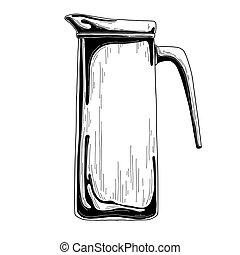 Realistic sketch of a jug. Vector illustration