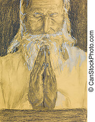 realistic sketch of an old man praying