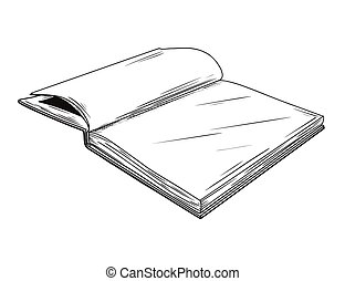 Realistic sketch of an open book. The book is isolated on a white background. Vector