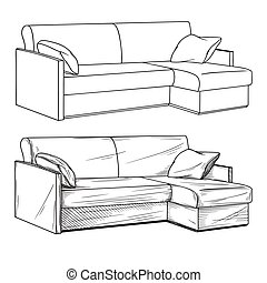 Realistic sketch of sofas isolated on white background. Vector