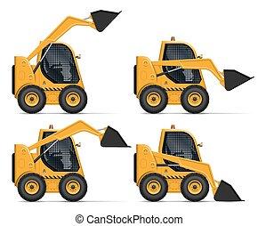 Realistic skid steer loader vector illustration