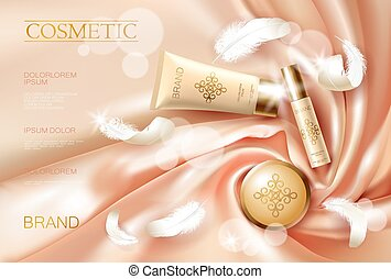 Realistic skin care cream. Tube spray, container cosmetic...