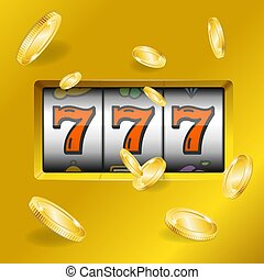 Realistic Slot Machine with Gold Coins. Vector