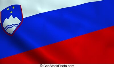 Realistic Slovenian flag waving in the wind. Seamless...