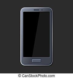 Realistic Smart Phone on Dark Background. Vector
