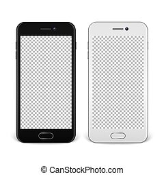 Realistic smartphone icon set - black and white - isolated on white background. Vector design template, EPS10 mockup.