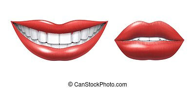 Realistic smile. Woman laughing mouth with white teeth and lips, oral healthcare and make up model. Vector human smile
