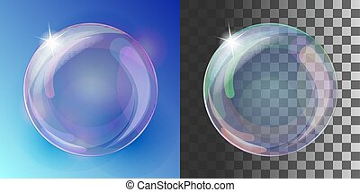 Realistic soap bubble with rainbow colors