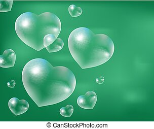 Realistic soap bubbles Heart-shaped. Drops of water in a  shape. Valentines day, love, romance concept. Vector illustration