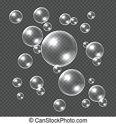 Realistic soap bubbles. White 3D soap sphere, clear shampoo bubble. Water ball with reflections transparent template