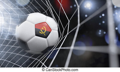 Realistic soccer ball in the net with the flag of Angola.(series)