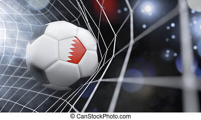 Realistic soccer ball in the net with the flag of Bahrain.(series)