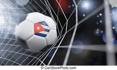 Realistic soccer ball in the net with the flag of Cuba.(series)