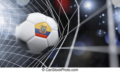 Realistic soccer ball in the net with the flag of Ecuador.(series)