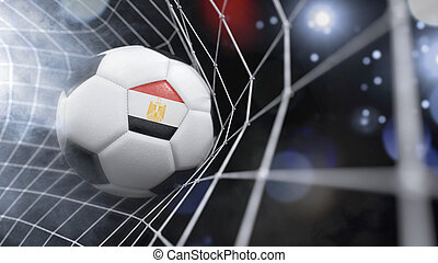 Realistic soccer ball in the net with the flag of Egypt.(series)