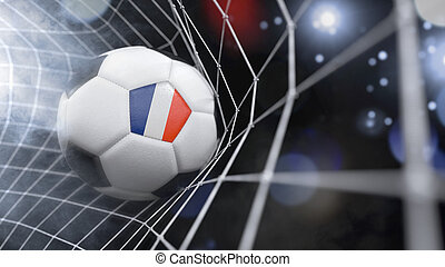Realistic soccer ball in the net with the flag of French Guiana.(series)