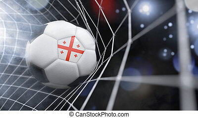 Realistic soccer ball in the net with the flag of Georgia.(series)