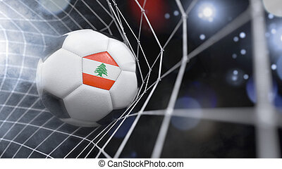 Realistic soccer ball in the net with the flag of Lebanon.(series)