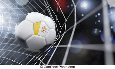 Realistic soccer ball in the net with the flag of Vatican City.(series)
