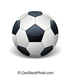Realistic soccer ball isolated white vector illustration
