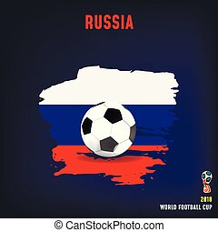 soccer ball on flag of Russia made of brush