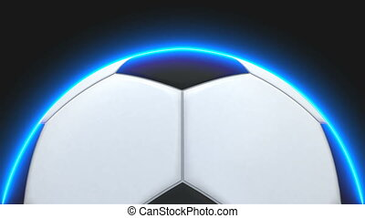 Realistic soccer ball with illumiantion on black, element...